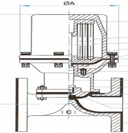 Válvula Tipo D (Passagem Reta) Atuador Normal Fechado